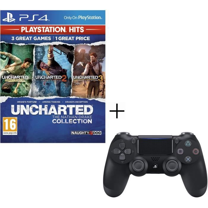 Pack Playstation : Manette PS4 + Voucher Fortnite + Uncharted Nathan Drake Collection PS Hits Jeu PS4