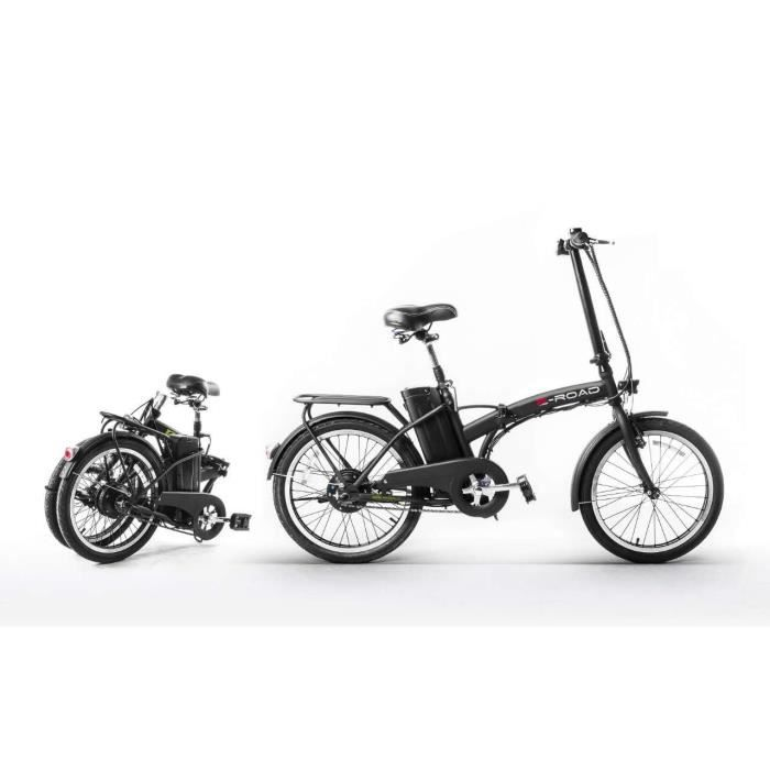 e road v lo electrique pliant t bike 20 noir 25 km h autonomie 25 35 km. Black Bedroom Furniture Sets. Home Design Ideas