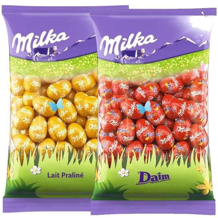 MILKA Chocolats de Pâques - Lot de 2 sachets de Petits Œufs 500g