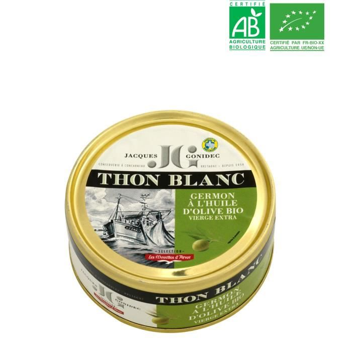 Tranche entière de thon blanc Germon à l'huile d'Olive BIO JG - 160 G