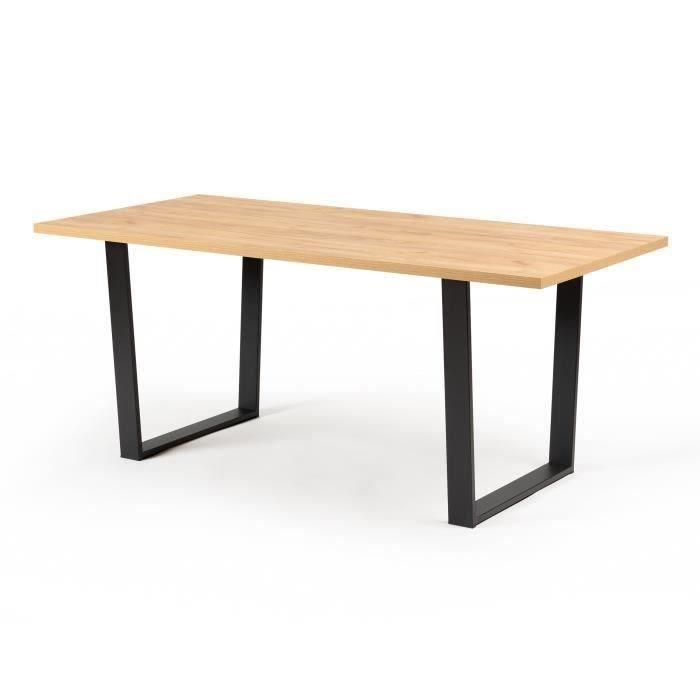Table à manger - Décor chêne - Pieds en métal noir - L 180 x P 85 x H 74,5 cm - INDUSTRY