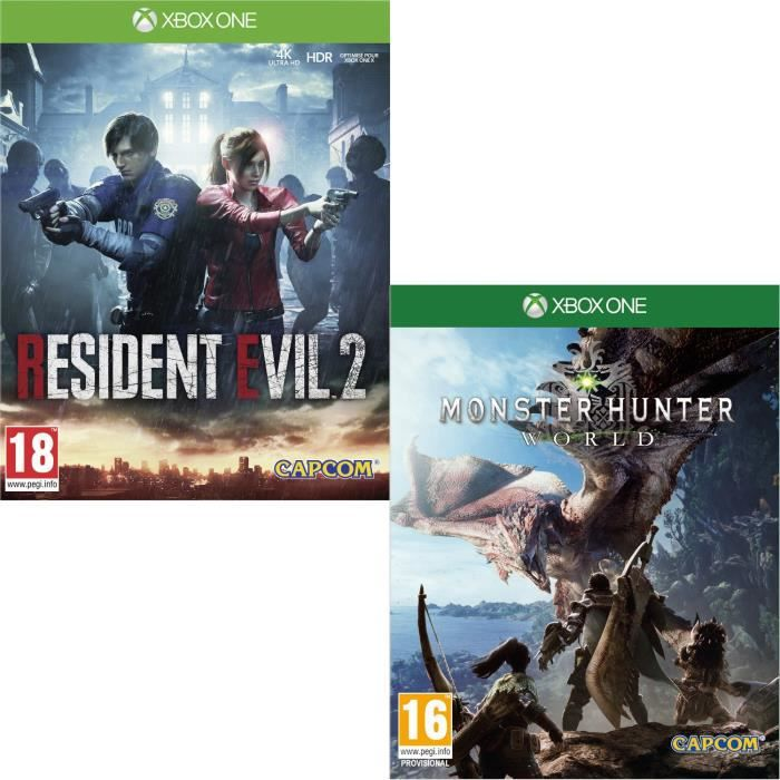 Resident Evil 2 + Monster Hunter World Jeux Xbox One