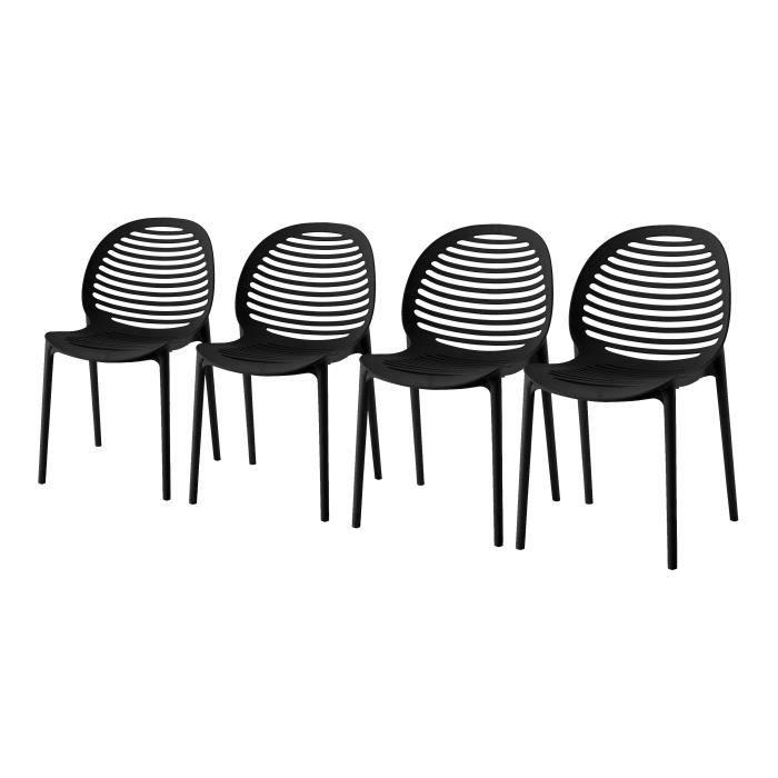 DCB GARDEN Lot de 4 chaises en PVC Olbia - Gris anthracite