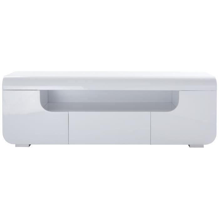 MIAMI Meuble TV avec LED contemporain laqué blanc brillant - L 150 cm