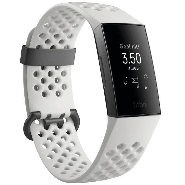 FITBIT Bracelet connecté Sport Charge 3 - Spéciale édition - Blanc givré et graphite