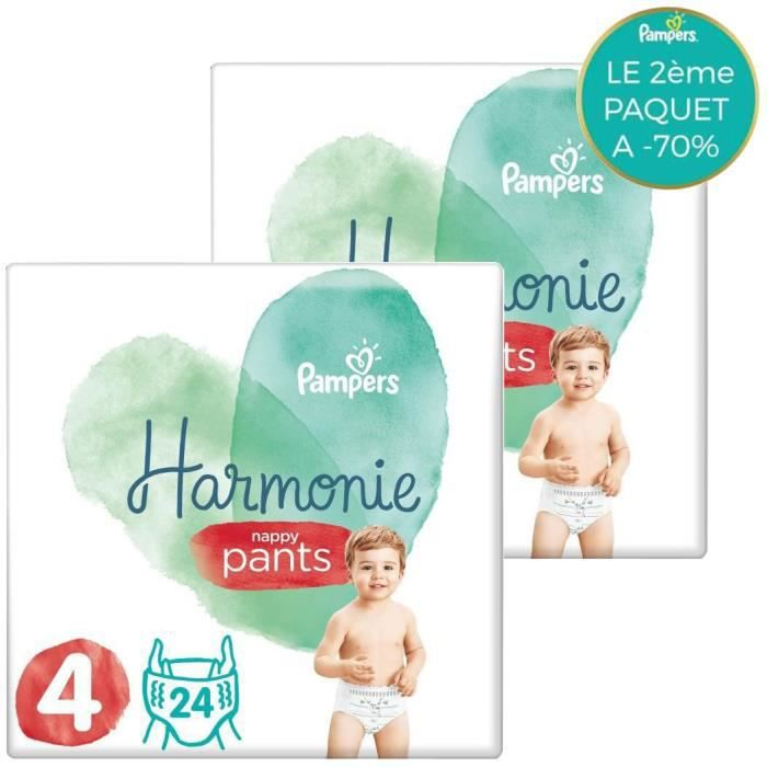 [Lot de 2] PAMPERS 24 Couches-Culottes Harmonie Nappy Pants Taille 4
