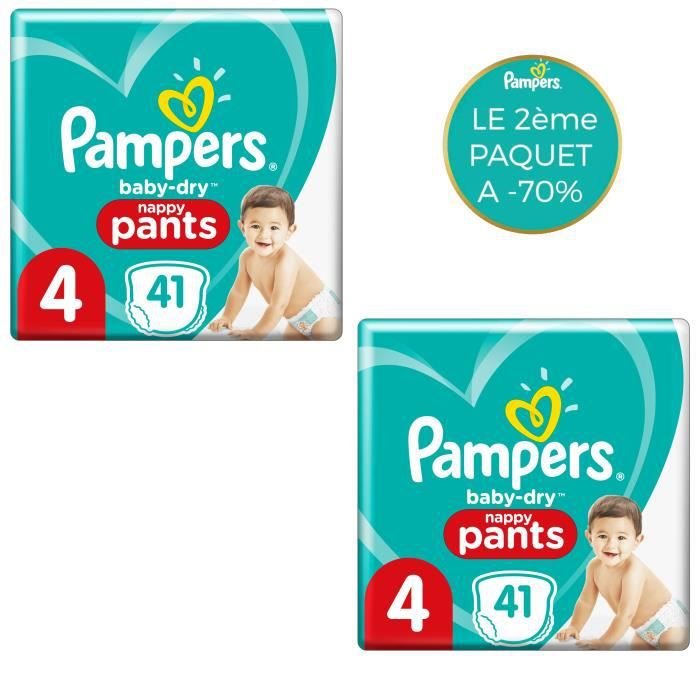 PAMPERS Baby-Dry Pants Couches-Culottes Taille 4, 41 Culottes - Lot de 2