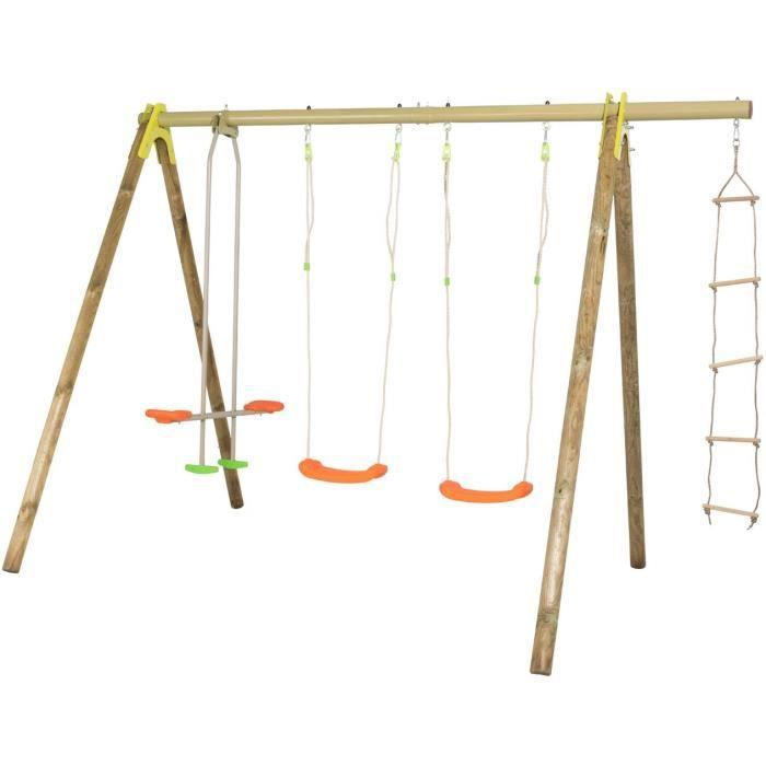 Portique bois et métal - 2,30m - 2 balançoires, 1 face à face et 1 échelle de corde EXOTICA TRIGANO