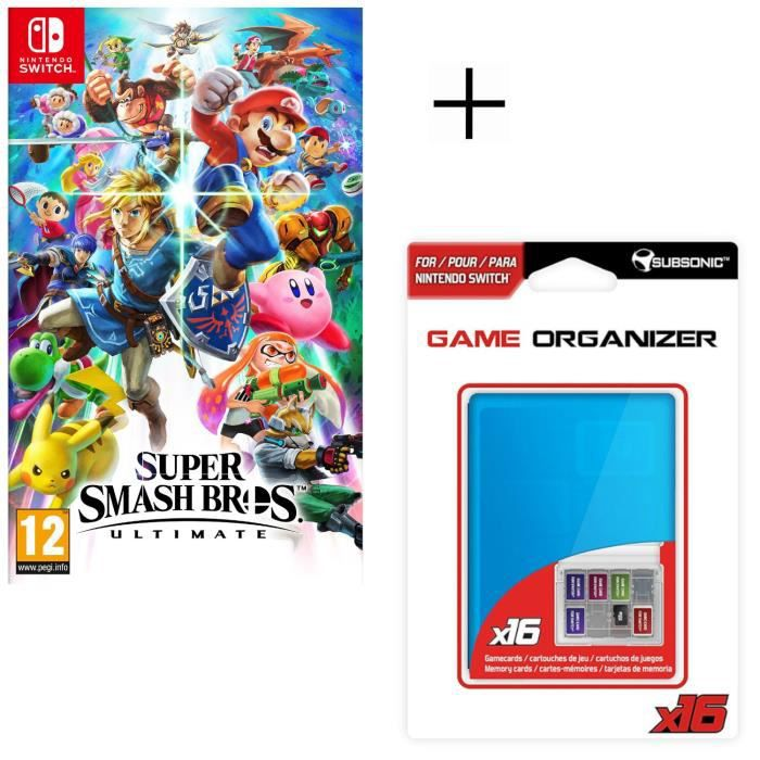 Super Smash Bros Ultimate Jeu Switch + Boitier range jeux et carte SD