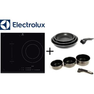 PACK cuisson ELECTROLUX: E6113IFK table Induction-3 zones-7200W-Noir + SITRAM SPC3CIN Set 3 casseroles + SPC3PIN Set 3 po?les