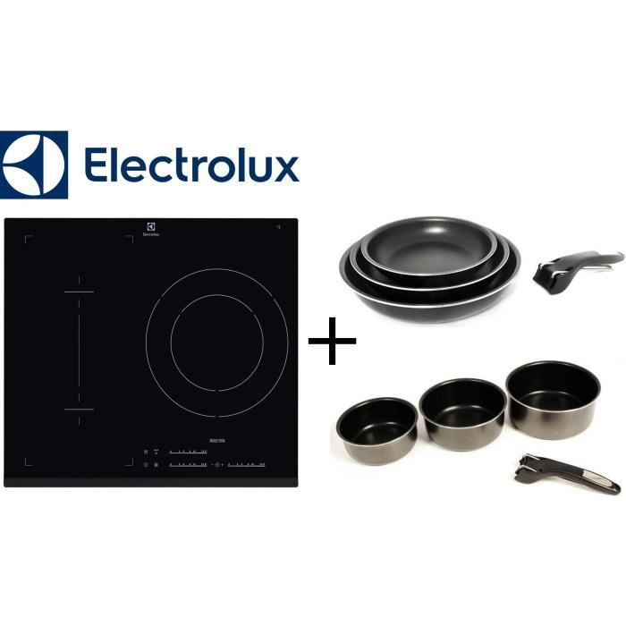 PACK cuisson ELECTROLUX: E6113IFK table Induction-3 zones-7200W-Noir + SITRAM SPC3CIN Set 3 casseroles + SPC3PIN Set 3 poêles