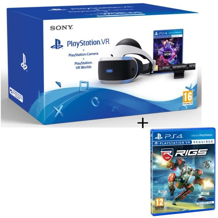 PlayStation VR + PlayStation Caméra + 2 Jeux : VR Worlds + RIGS : Mechanized Combat League