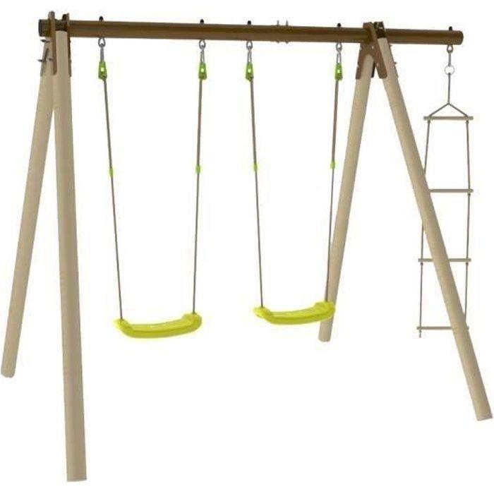 Portique bois et métal - 1,90m - 2 balançoires et 1 échelle - PIKI TRIGANO