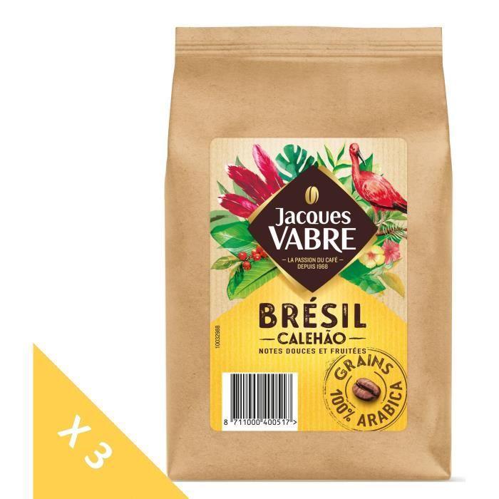 [LOT DE 3] Jacques Vabre Calehao café en grains -500g