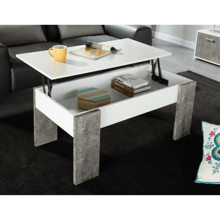 Basile table basse a plateau relevable style contemporain - Table basse tablette relevable ...