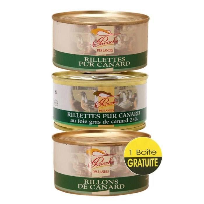 2 Rillettes Canard au Foie Gras et Nature 130g = 1 Rillons de Canard OFFERT - CHALOSSE