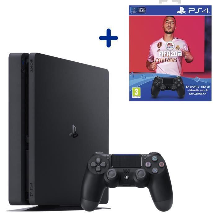 Pack PS4 Slim 500 Go + FIFA 20 + 2e manette