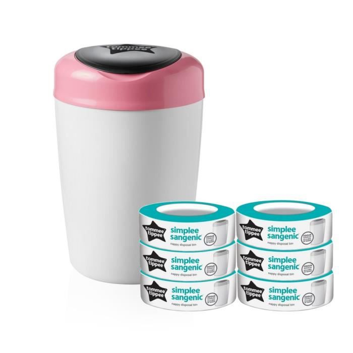 TOMMEE TIPPEE Starter Pack Sangenic SIMPLEE - 1 bac ROSE + 7 recharges