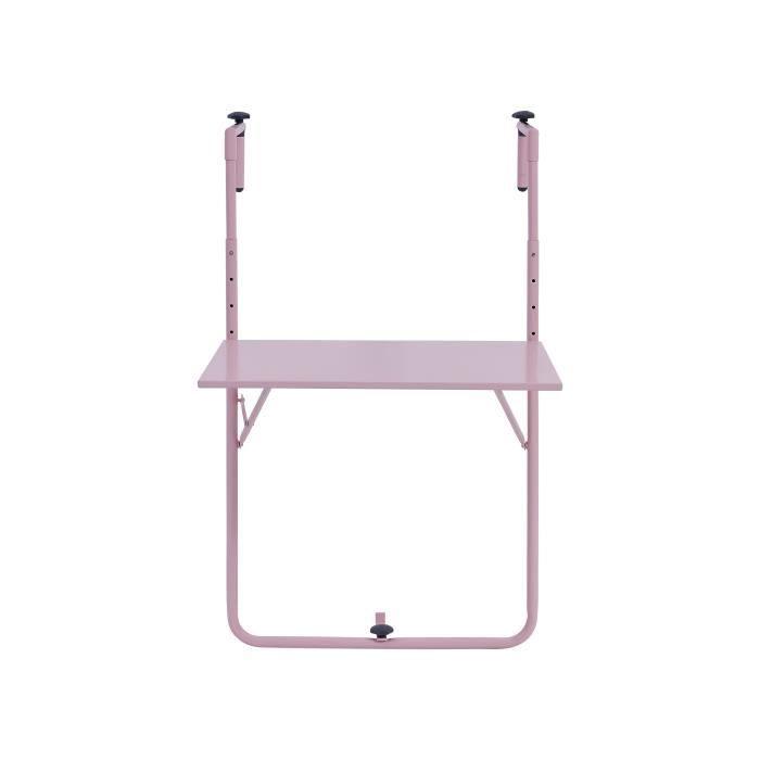 Table de balcon rabattable en Acier - 60 x 78 x 86-101 cm - Rose