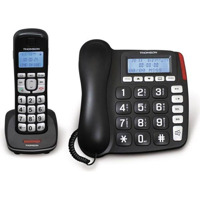 Thomson Comby 2 en 1 Base Filaire + Téléphone Sans Fil Noir