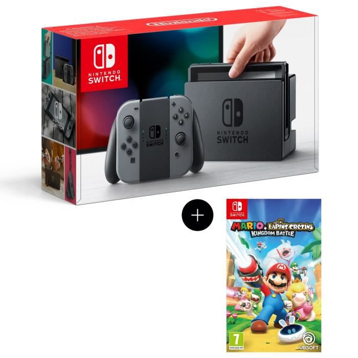 Console Nintendo Switch avec paire de joy-con gris + Mario The Lapins Crétins Kingdom Battle Jeu Switch