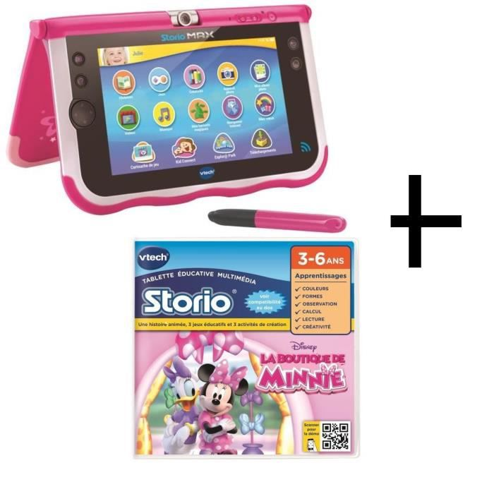 VTECH Pack3 Storio 7 + 1 jeu Disney La Boutique de Minnie offert