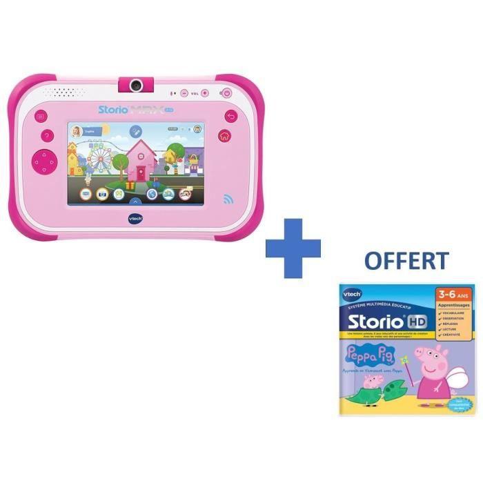 VTECH - Console Storio Max 2.0 5- Rose - Tablette Éducative Enfant 5 Pouces + 1 Jeu Peppa Pig OFFERT