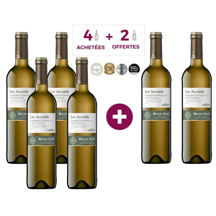 Les Accords de Roche Mazet Chardonnay & Viognier 2019 Pays d'Oc - Vin blanc de Languedoc - 4 achétées + 2 offertes