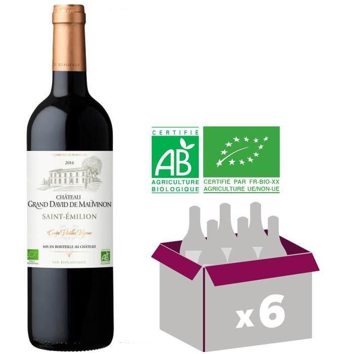 CHÂTEAU GRAND DAVID DE MAUVINON 2016 Cuvée Vieilles Vignes Saint Emilion Bordeaux BIO - Rouge - 6x 75 cl