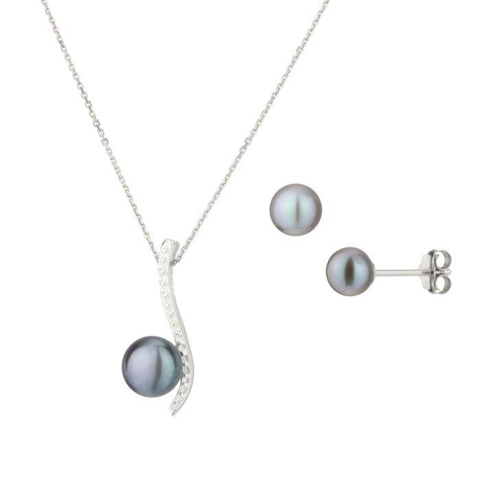 NACRE DE PERLE Parure Argent 925° Oxydes de Zirconium Perle d'Eau Douce Femme