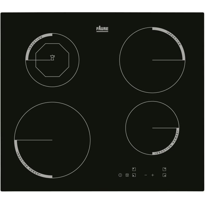 FAURE F6204IOK Table de cuisson Induction - 4 zones - 6600W - L59 x P52cm - Revêtement verre - Noir