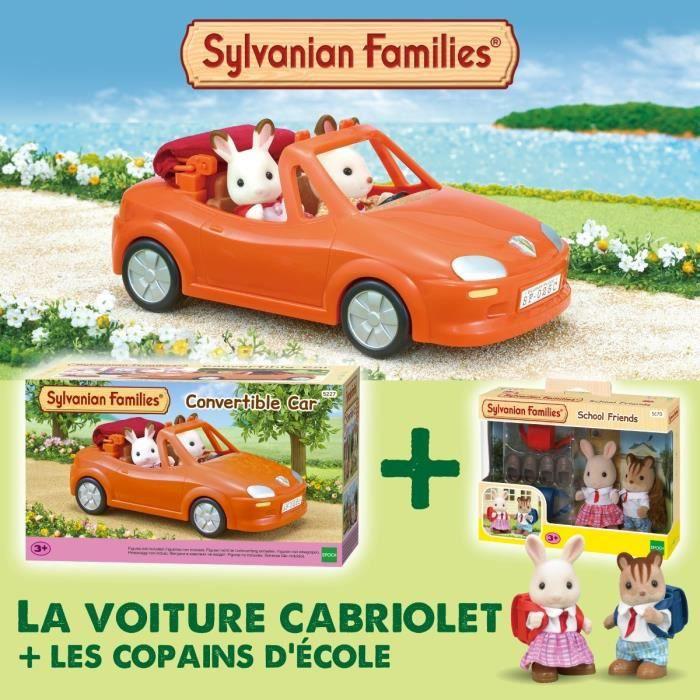 SYLVANIAN FAMILIES Voiture cabriolet 5227 + Les copains d'école 5170 - Les véhicules