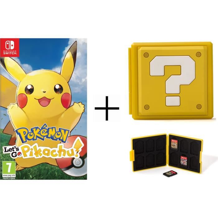 Pokémon : Let's go, Pikachu + Boîtier pour jeux Switch - Question Block Jaune