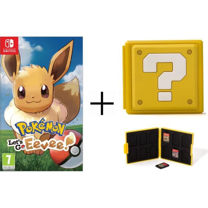 Pokémon : Let's go, Evoli + Boîtier pour jeux Switch - Question Block Jaune