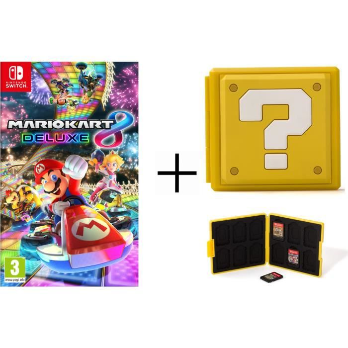 Mario Kart 8 Deluxe + Boîtier pour jeux Switch - Question Block Jaune