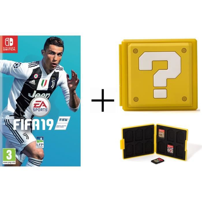 FIFA 19 + Boîtier pour jeux Switch - Question Block Jaune