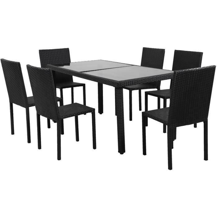 Ensemble repas de jardin 6 personnes - table 160x80cm avec plateau verre trempé et 6 chaises en résine tressée - Noir - TABLECHAIR2