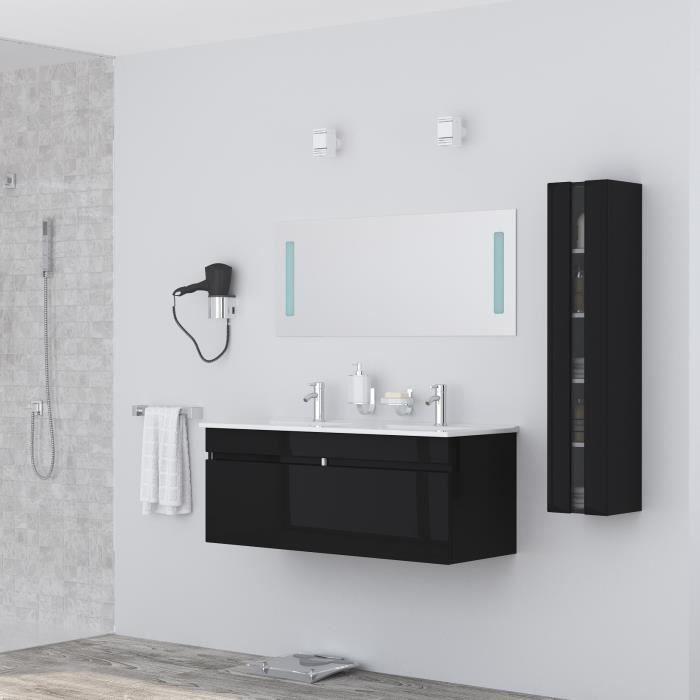 ALBAN Ensemble salle de bain double vasque avec miroir L 120 cm - Noir laqué brillant