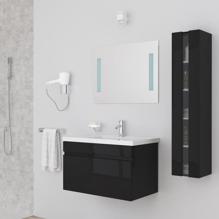 ALBAN Ensemble salle de bain simple vasque avec miroir L 80 cm - Noir laqué brillant