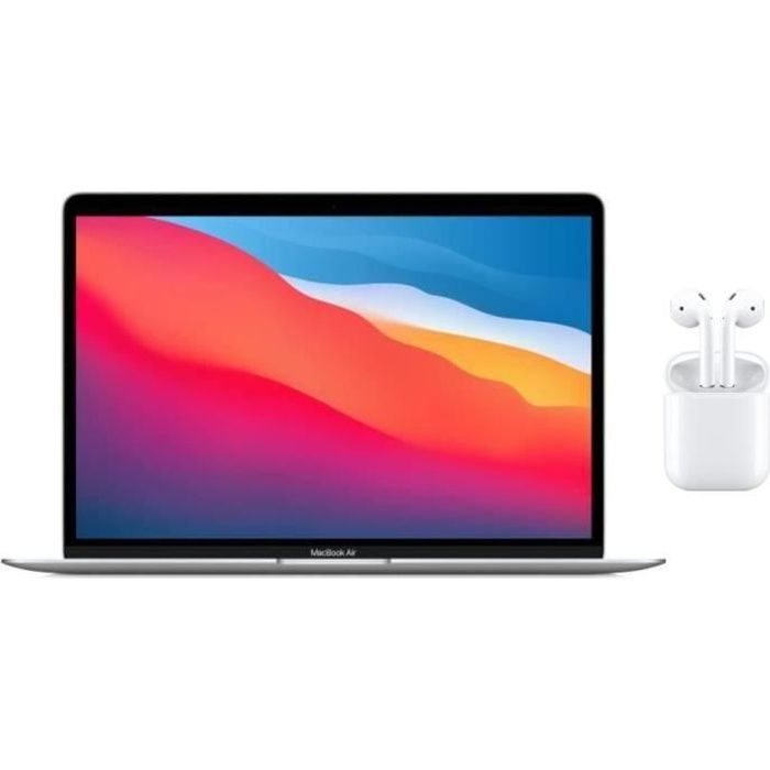 Pack Apple - 13,3- MacBook Air (2020) - Puce Apple M1 - RAM 8Go - Stockage 256Go - Argent - AZERTY + AIRPODS Blanc