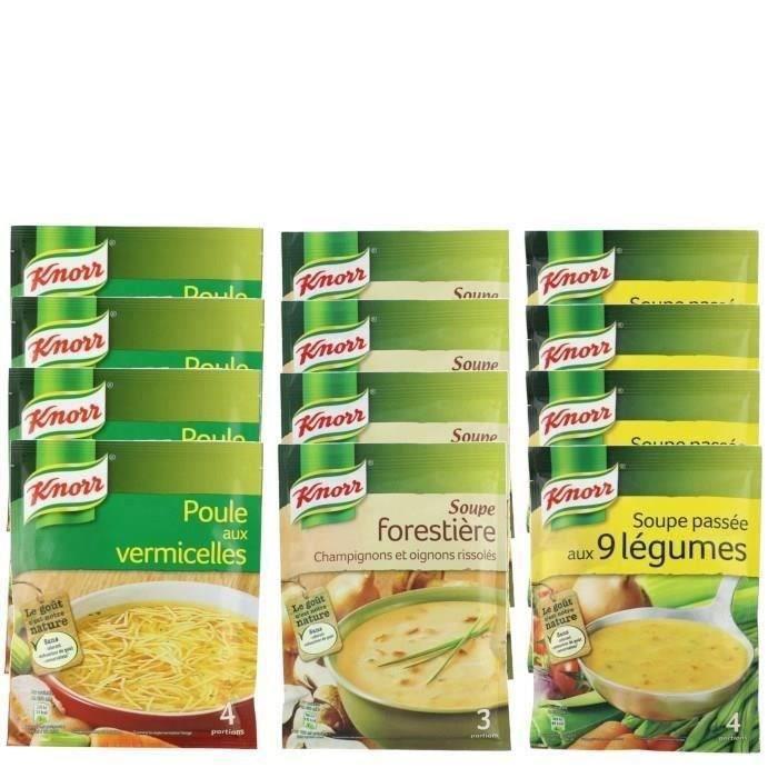 Knorr - Assortiment de 12 soupes aux saveurs variées