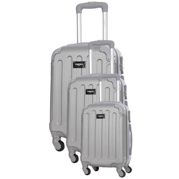 TORRENTE Ensemble 3 Valises Rigide ABS 4 Roues S-M-L HYPNOS Gris