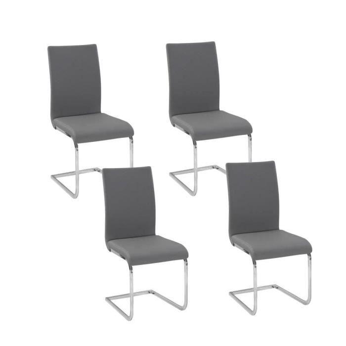 LEA Lot de 4 chaises de salle à manger grises