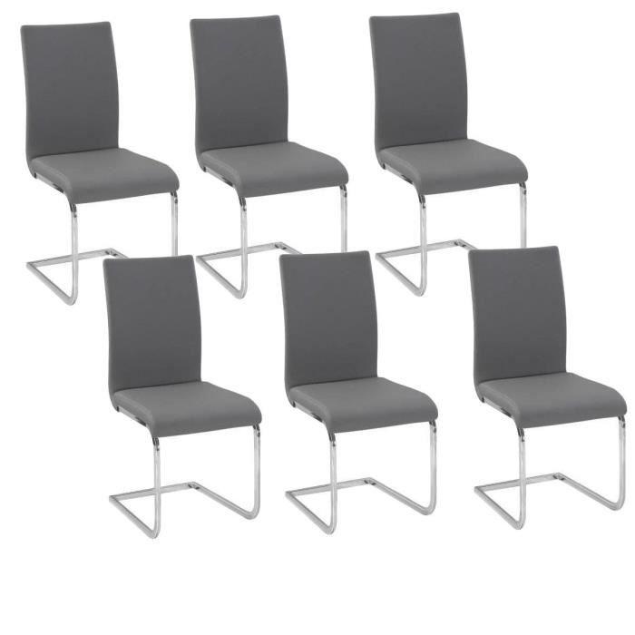 LEA Lot de 6 Chaises de salle à manger grises