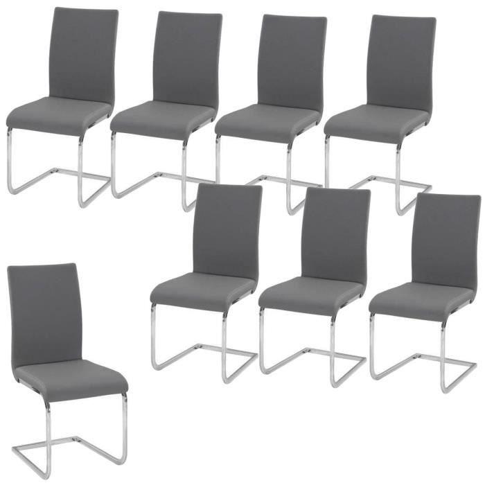 LEA Lot de 8 Chaises de salle à manger grises
