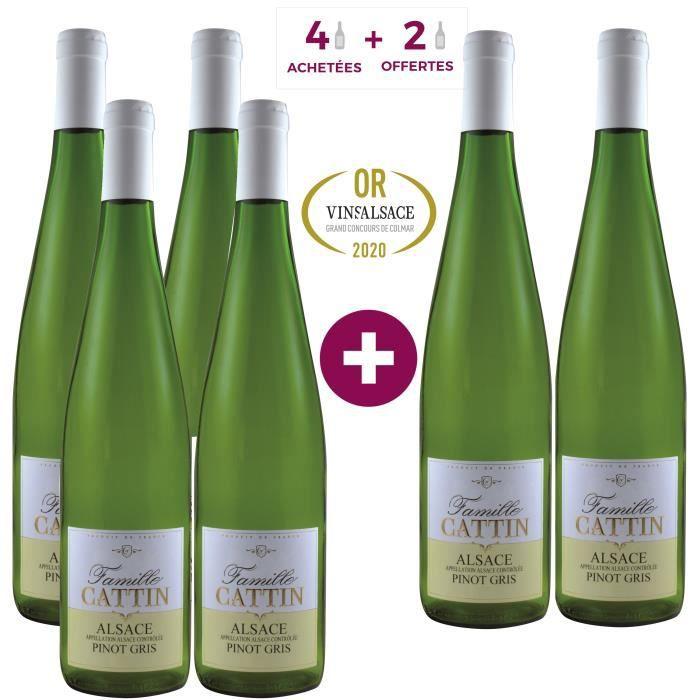 4 Achetées = 2 Offertes - Famille Cattin Pinot Gris 2019 Alsace - Vin blanc d'Alsace