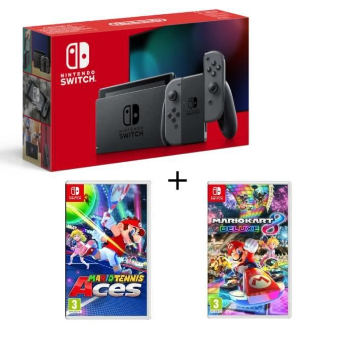 Pack nintendo switch grise mario tennis aces mario kart 8 deluxe