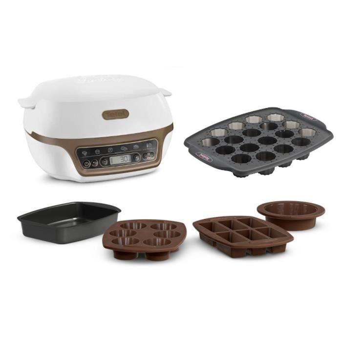 TEFAL KD802112 Cake Factory Machine intelligente à gâteau + Moule 18 minis cannelés Crispybake Silicone - 29x21 cm offert