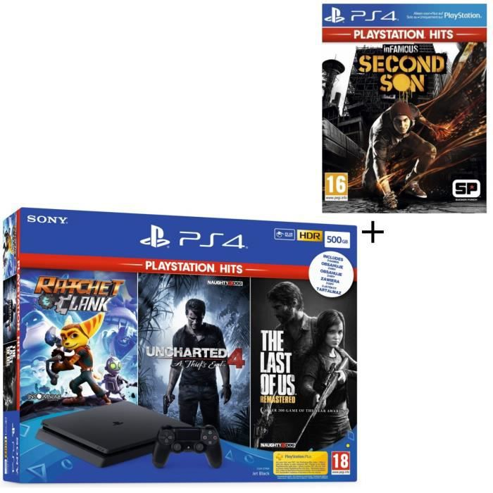 Pack PS4 500 Go Noire + 4 Jeux PS Hits : The Last of Us Remastered + Ratchet & Clank + Uncharted 4 A Thief's End + InFamous Second S