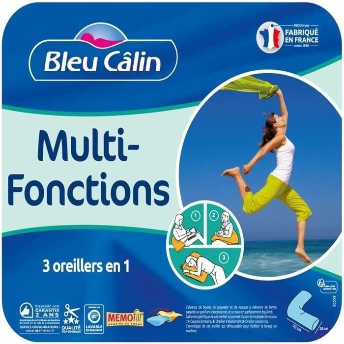 BLEU CALIN Oreiller MULTI-FONCTIONS MEMOFILL - Forme V - Bleu glacier